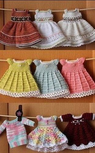 Платье для кукол крючком