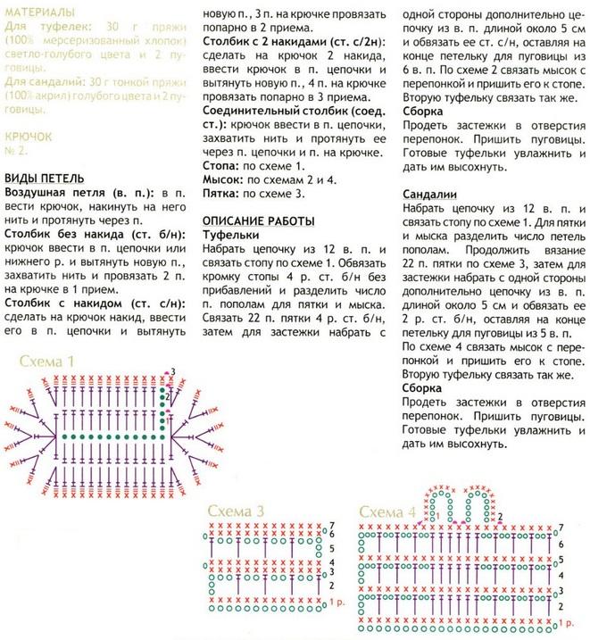 Пинетки -туфельки связаны крючком 2. Схема вязания пинеток-туфелек.