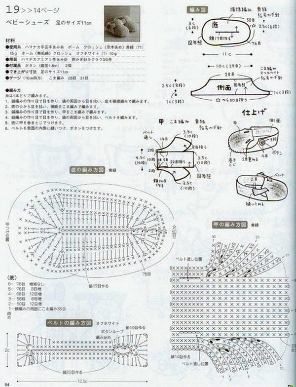 Схемы вязания детских пинеток туфелек