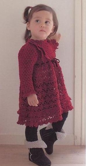 Вязание детского платья крючком