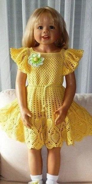 Платье для девочки связанное крючком