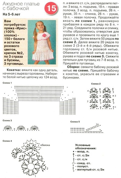 Схема вязания пеплого платья для девочки 5лет