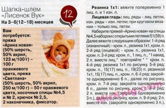 Как связать шлем для новорожденного спицами