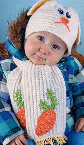 Вязаный комплект на 1-1,5 года.  Забавная детская шапочка и шарфик связаны спицами 2.5 и крючком 2. Вязаная детская...