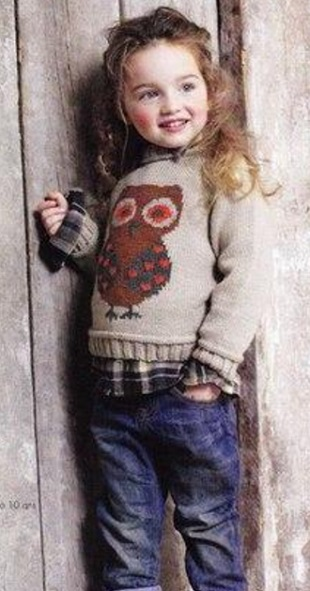 Пуловер с узором Сова