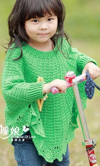 Пончо красивого травяного цвета связано крючком длядевочки 4-5 лет.  Схема вязания пончо для девочки крючком.  0. 3690.