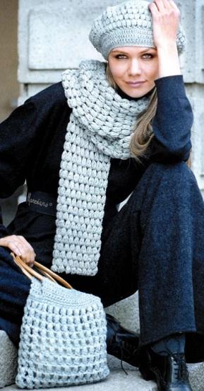 Берет, шарф и сумка крючком