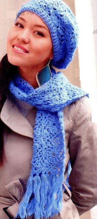 Boina y bufanda de ganchillo