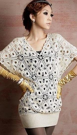 Блузка из треугольных мотивов