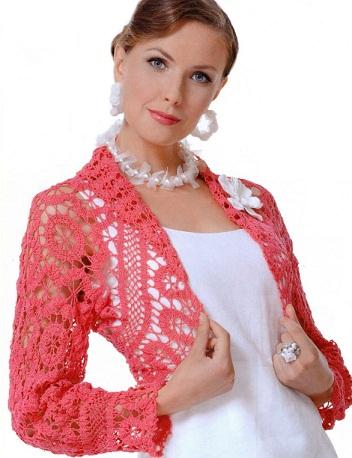 Болеро - актуальный элемент гардероба каждой женщины. вязание мотивами. идеи.  Схема вязания болеро крючком.