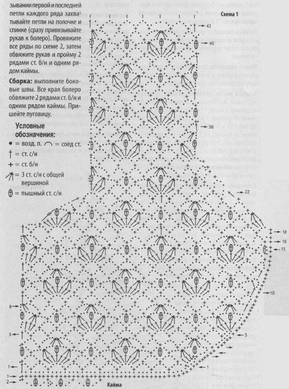 Схемы вязания крючком жакета болеро 46