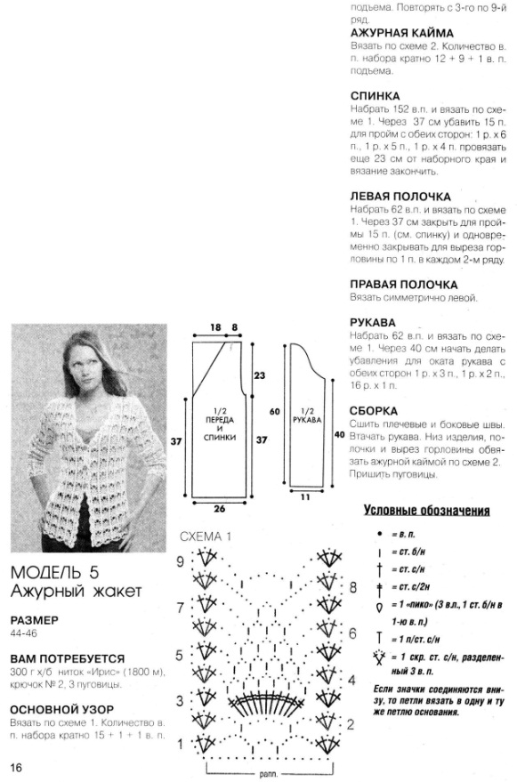 Вязание ажурного жакета крючком 26