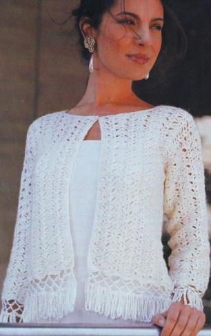 Белый ажурный жакет