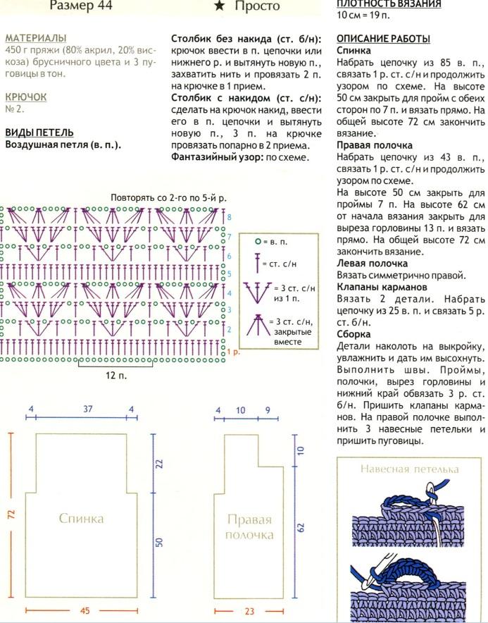 Схема вязания листиков на спицах