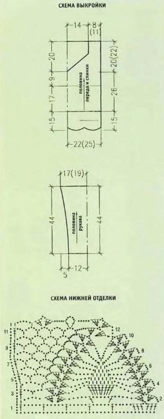 Кофта крючком схема2