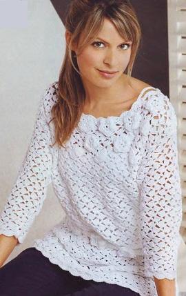 схема вязания.  Белый пуловер с цветами.