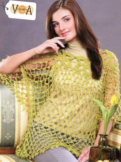 Схема вязания накидки - сетки