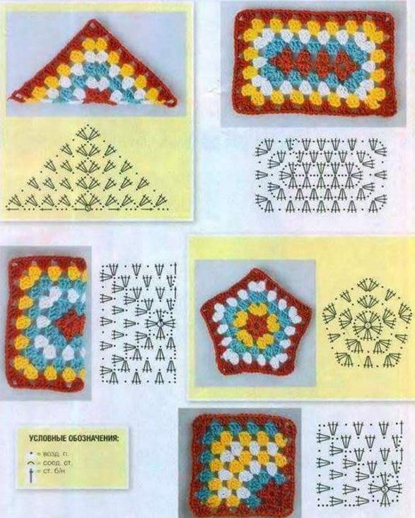 Вязание крючком бабушкины квадраты изделия 22