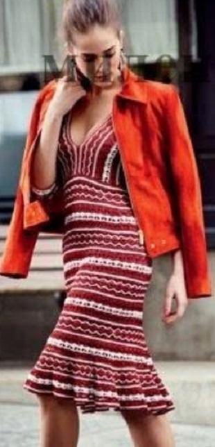 Двухцветное платье крючком