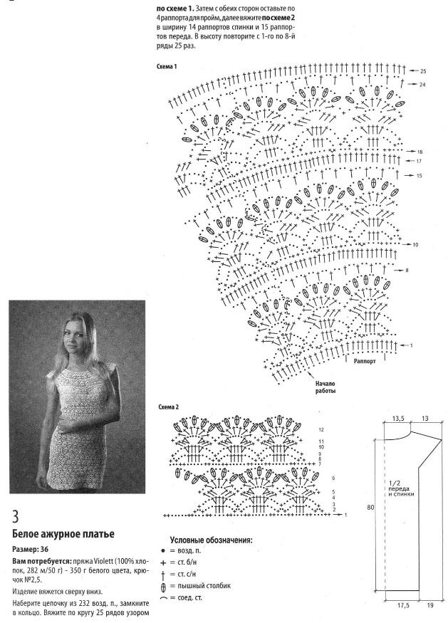 Вязание платья по японским схемам 820