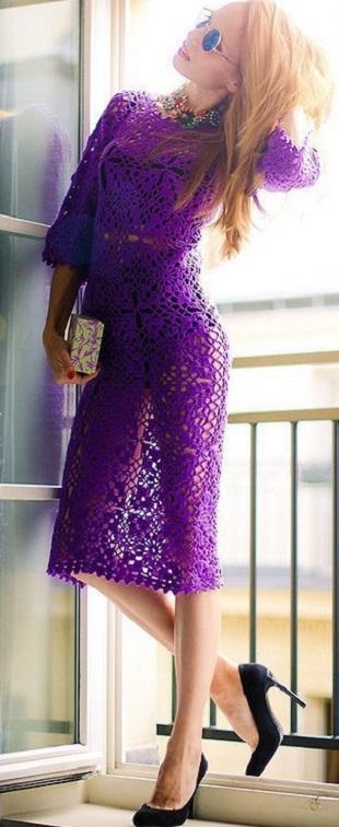 Вязание платья из мотивов
