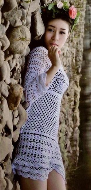 Вязание кружевного платья