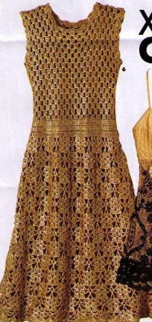 Золотистое платье крючком