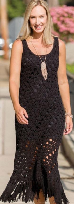 Вязание черного платья крючком