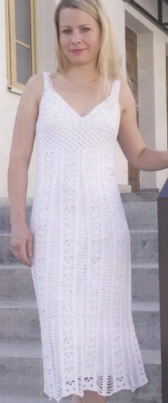 Crocheted white dress