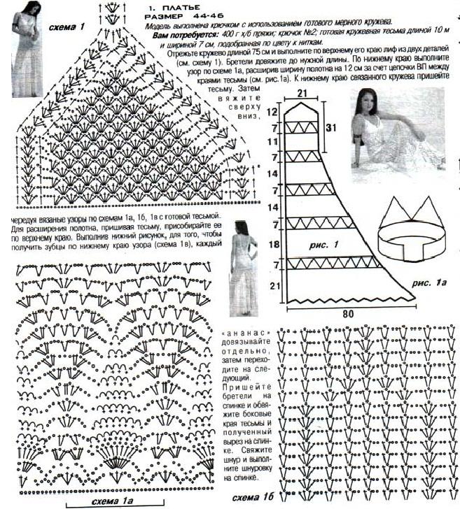 Схема вязания платья летнего 46