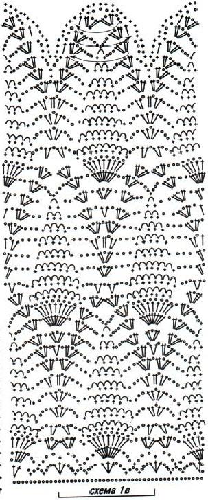 Схема вязания длинного платья крючком.