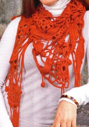 Вязание шали чешуйками или крокодиловой кожей