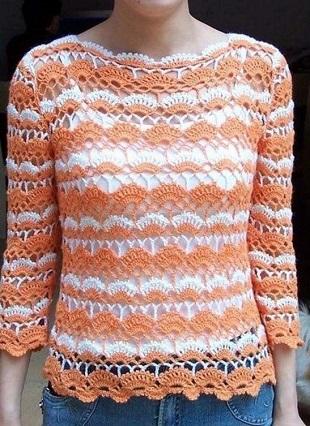 Кружевной пуловер крючком