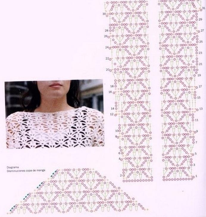 вязание ажурного пуловера схемы