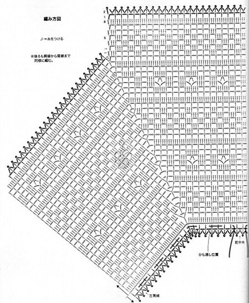 Филейное вязание летних кофточек схемы 730