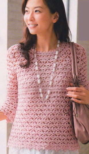 Пуловер-туника крючком