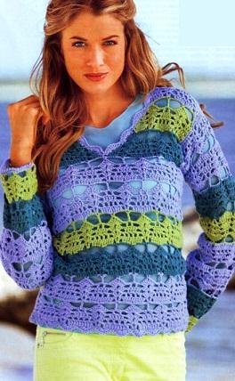 Вязаный крючком полосатый пуловер. 21138