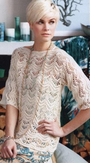 Пуловер с узором Волны
