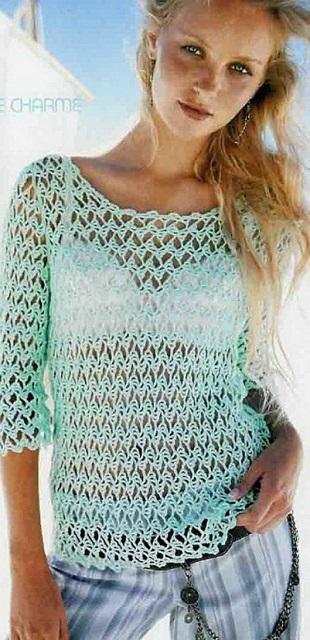 Пуловер салатового цвета крючком