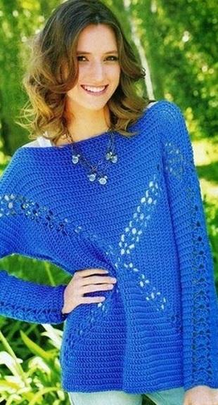 Оригинальный пуловер крючком