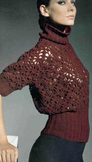 Стильный пуловер крючком