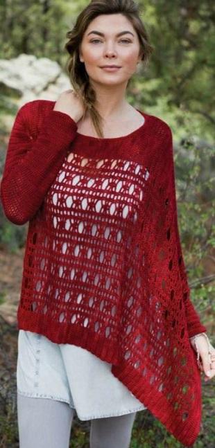 Пуловер винного цвета крючком