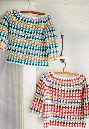 Цветной пуловер крючком