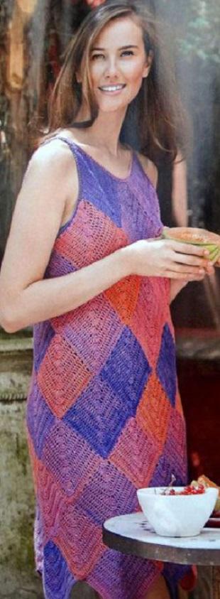 Вязание сарафана из мотивов крючком