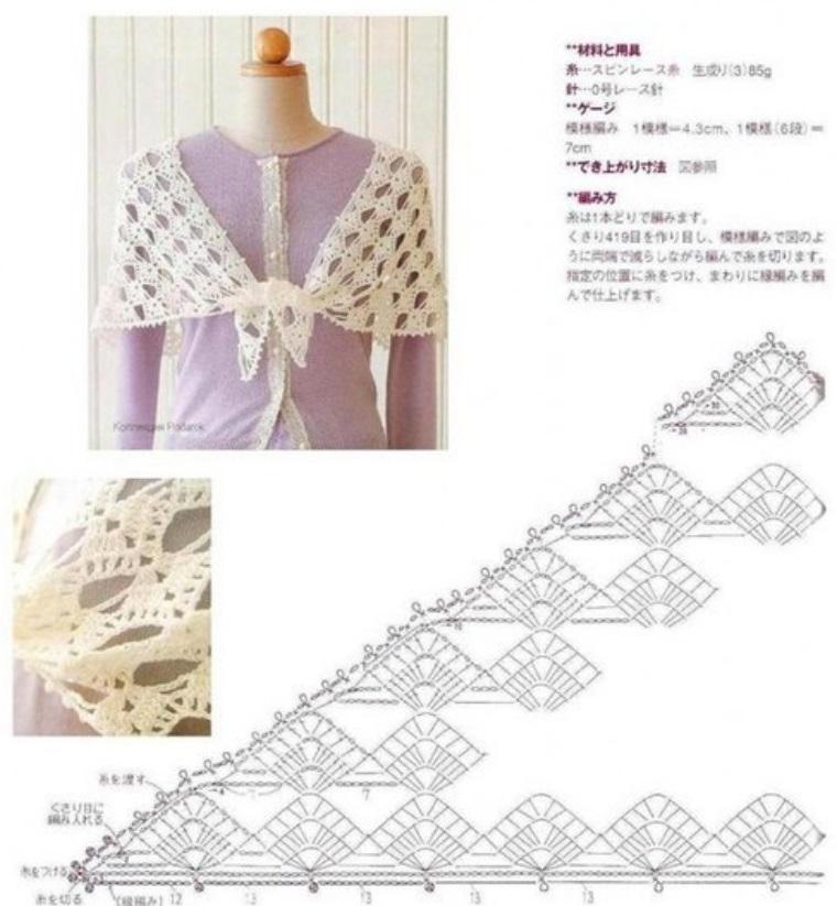 вязание ажурной шали схемы