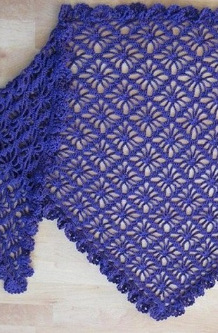 Схема вязания шали крючком .