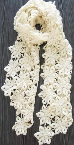Схема вязания шарфа крючком .