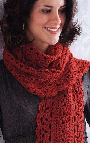 Вязание ажурного шарфика