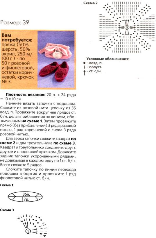 Вязание тапочек с описанием схем вязания