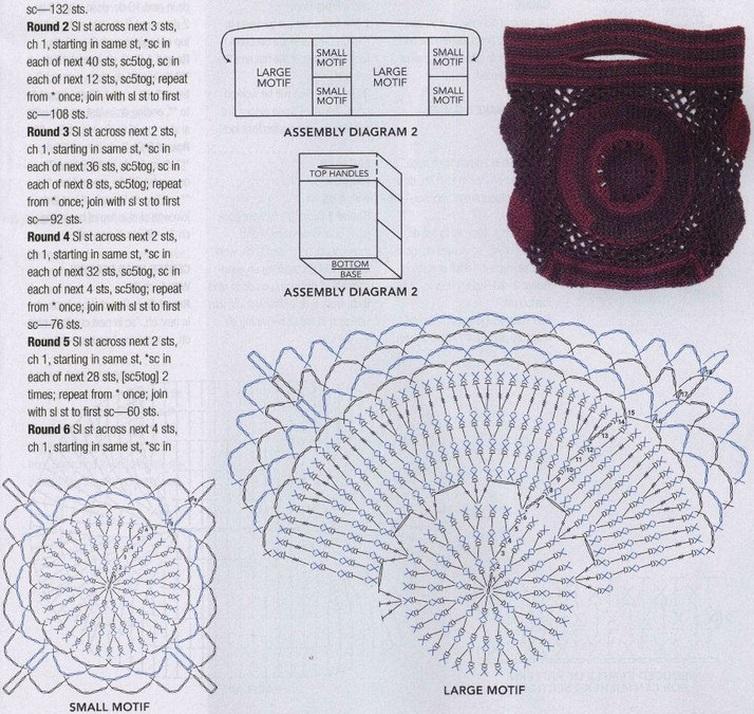 Схема вязания сумочки крючком мотивами